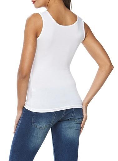 Sevim Modal Geniş Askılı Kadın Bluz Beyaz